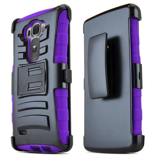 G Flex 2 Case, [Purple / Black] Supreme Protection Plastic on Silicone Dual Layer Hybrid Case for LG G Flex 2