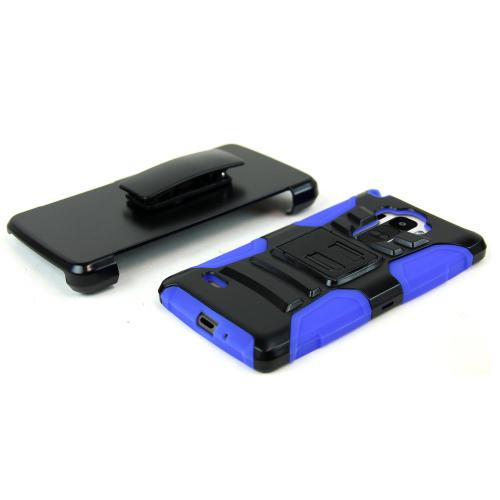 LG G Stylo Heavy Case,  [Black/ Blue]  Heavy Duty Dual Layer Hybrid Holster Case with Kickstand and Locking Belt Swivel Clip