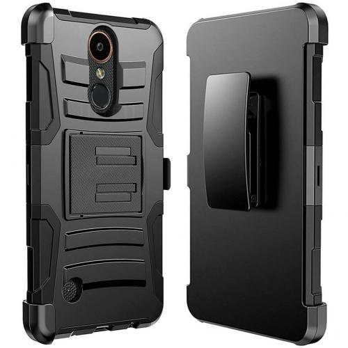 LG K10 (2017) Case, Dual Layer Hard Case w/ Kickstand on Silicone Skin Case w/ Holster [Black] with Travel Wallet Phone Stand