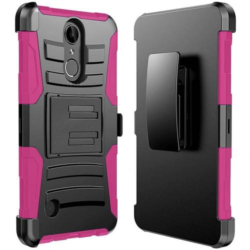 LG K10 (2017) Case, Dual Layer Hard Case w/ Kickstand on Silicone Skin Case w/ Holster [Hot Pink] with Travel Wallet Phone Stand