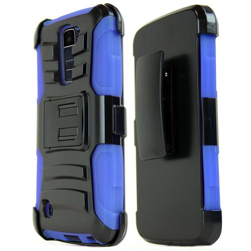 LG K10 Case, REDshield [Blue] Heavy Duty Dual Layer Hybrid Holster Case with Kickstand and Locking Belt Swivel Clip
