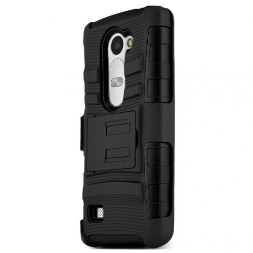 LG LEON Holster Case, [Black] Supreme Protection Hard Plastic on Silicone Skin Dual Layer Hybrid Case w/ Holster - Fantastic Protection!