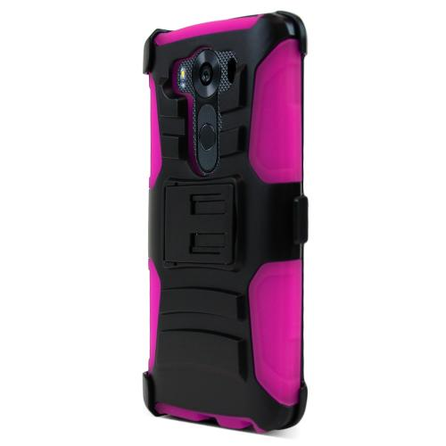 LG V10 Case,  [Hot Pink]  Heavy Duty Dual Layer Hybrid Holster Case with Kickstand and Locking Belt Swivel Clip