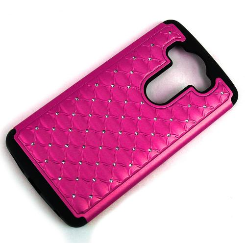 LG V10 Case,  [Hot Pink Bling]  Supreme Protection Plastic on Silicone Dual Layer Hybrid Case