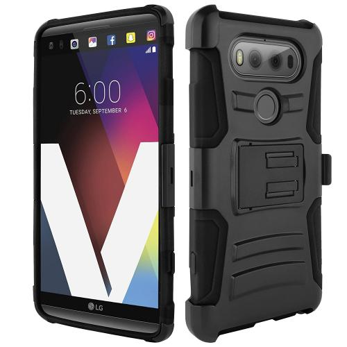 LG V20 Holster Case, REDshield [Black] Supreme Protection Hard Plastic on Silicone Skin Dual Layer Hybrid Case