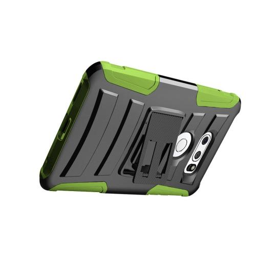 [REDshield] LG V30 Holster Case, Dual Layer [Black] Hard Case w/ Kickstand on [Neon Green] Silicone Skin Case w/ Holster
