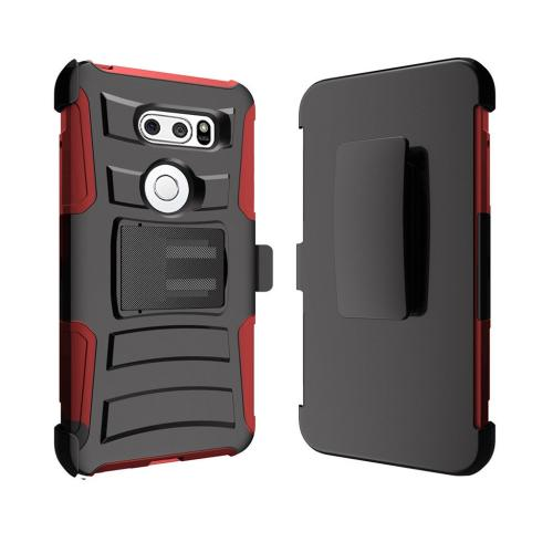 [REDshield] LG V30 Holster Case, Dual Layer [Black] Hard Case w/ Kickstand on [Red] Silicone Skin Case w/ Holster