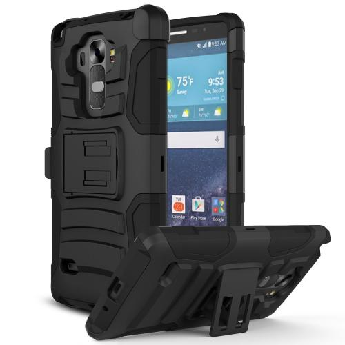 LG G Vista Holster Case, REDshield [Black] Dual Layer Hard Case w/ Kickstand on Black Silicone Skin Case; Includes Holster w/ Swivel Belt Clip