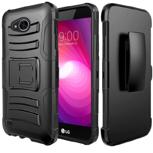 LG X Power 2/ X Charge Case, Dual Layer Hard Case w/ Kickstand on [Black] Silicone Skin Case w/ Holster with Travel Wallet Phone Stand
