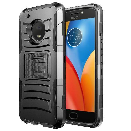 Motorola Moto E4 PLUS Holster Case, [REDshield] Dual Layer Hard Case w/ Kickstand on Silicone Skin Case w/ Holster [Black] with Travel Wallet Phone Stand