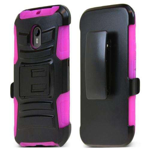 Motorola Moto G 2015 Holster Case, [Hot Pink] Supreme Protection Plastic on Silicone Dual Layer Hybrid Case