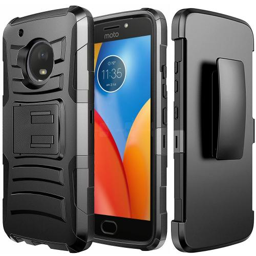Motorola Moto E4 Holster Case, [REDshield] Dual Layer [Black] Hard Case w/ Kickstand on [Black] Silicone Skin Case w/ Holster