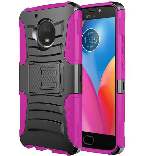 Motorola Moto E4 Holster Case, [REDshield] Dual Layer [Black] Hard Case w/ Kickstand on [Hot Pink] Silicone Skin Case w/ Holster
