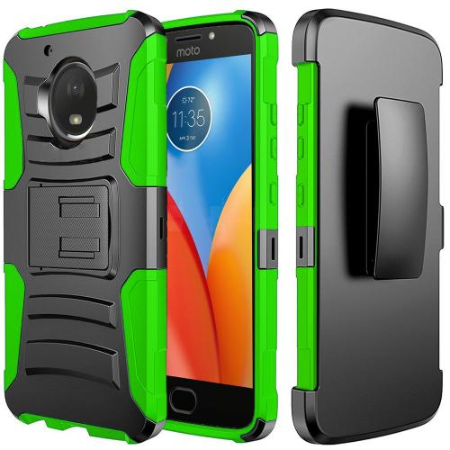 Motorola Moto E4 Holster Case, [REDshield] Dual Layer [Black] Hard Case w/ Kickstand on [Neon Green] Silicone Skin Case w/ Holster