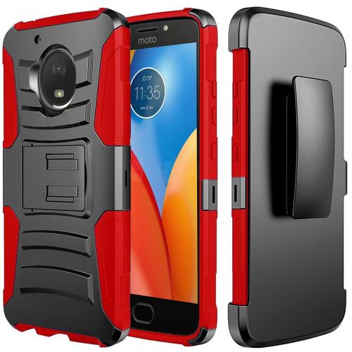 Motorola Moto E4 Holster Case, [REDshield] Dual Layer [Black] Hard Case w/ Kickstand on [Red] Silicone Skin Case w/ Holster