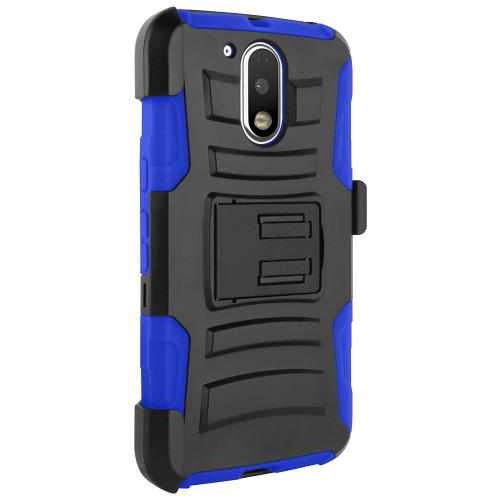 Motorola Moto G4 Play Case, Dual Layer Hard Case w/ Kickstand on Silicone Skin Case w/ Holster [Blue] with Travel Wallet Phone Stand