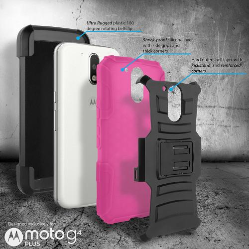 Motorola Moto G4 Play Case, Dual Layer Hard Case w/ Kickstand on Silicone Skin Case w/ Holster [Hot Pink] with Travel Wallet Phone Stand