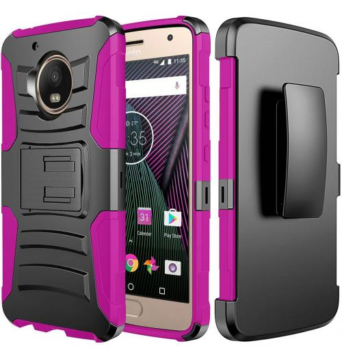 Motorola Moto G5 Plus Case, Dual Layer Hard Case w/ Kickstand on [Hot Pink] Silicone Skin Case w/ Holster with Travel Wallet Phone Stand