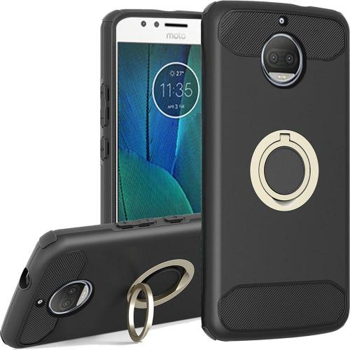 Motorola Moto G5S Plus (Will NOT fit Moto G5 Plus) Hybrid Case, [Black] Brushed Hybrid Dual Layer Case w/ Ring Holder Stand
