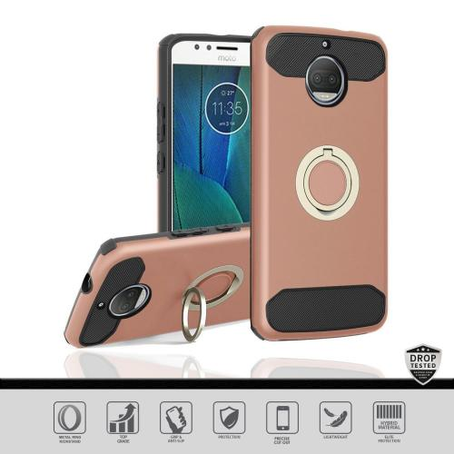 Motorola Moto G5S Plus (Will NOT fit Moto G5 Plus) Hybrid Case, [Rose Gold] Brushed Hybrid Dual Layer Case w/ Ring Holder Stand