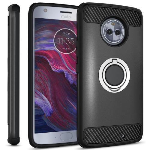 Motorola Moto X4 Hybrid Case, [Black] Brushed Hybrid Dual Layer Case w/ Ring Holder Stand