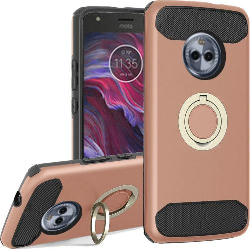 Motorola Moto X4 Hybrid Case, [Rose Gold] Brushed Hybrid Dual Layer Case w/ Ring Holder Stand