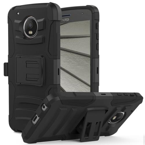 Motorola Moto Z2 Force Holster Case, Dual Layer Hard Case w/ Kickstand on [Black] Silicone Skin Case w/ Holster with Travel Wallet Phone Stand