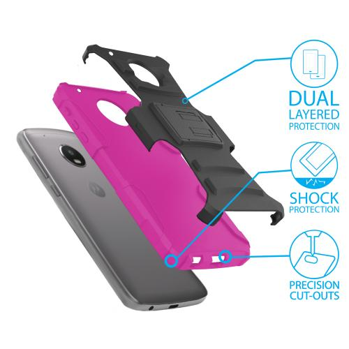 Motorola Moto Z2 Force Holster Case, Dual Layer Hard Case w/ Kickstand on [Hot Pink] Silicone Skin Case w/ Holster with Travel Wallet Phone Stand