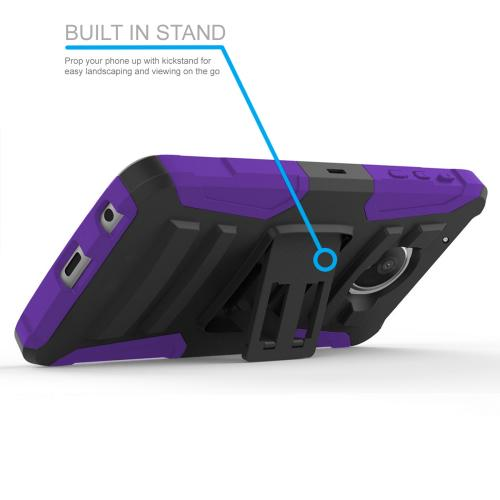 Motorola Moto Z2 Force Holster Case, Dual Layer Hard Case w/ Kickstand on [Purple] Silicone Skin Case w/ Holster with Travel Wallet Phone Stand