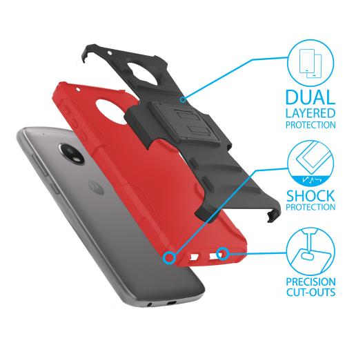 Motorola Moto Z2 Force Holster Case, Dual Layer Hard Case w/ Kickstand on [Red] Silicone Skin Case w/ Holster with Travel Wallet Phone Stand