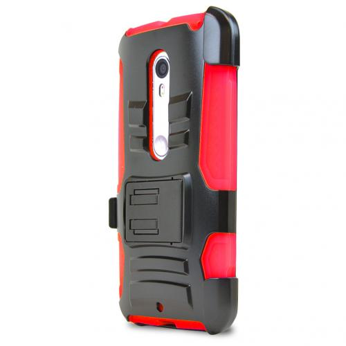 Motorola Moto X Pure Edition Holster Case, [Red] Supreme Protection Plastic on Silicone Dual Layer Hybrid Case