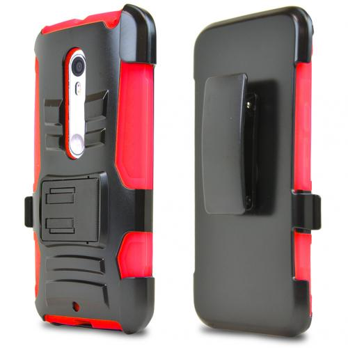 best service 8f7ca 9d5f5 Motorola Moto X Pure Edition Holster Case, [Red] Supreme Protection Plastic  on Silicone Dual Layer Hybrid Case