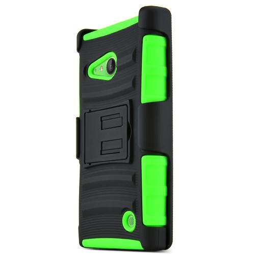 Lumia 735 Case, [Neon Green / Black] Supreme Protection Plastic on Silicone Dual Layer Hybrid Case for Nokia Lumia 735