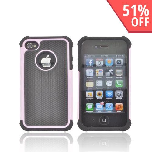 AT&T/ Verizon Apple iPhone 4, iPhone 4S Textured Hybrid Hard Cover Over Silicone Case - Baby Pink/ Black - XXIP4