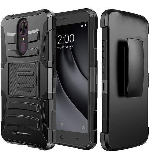 [Coolpad Revvl Plus-Tmobile Version Only] Holster Case, REDshield [Black] Supreme Protection Hard Plastic on Silicone Skin Dual Layer Hybrid Case