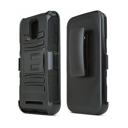 Black Samsung ATIV SE Hard Case w/ Kickstand on Black Silicone Skin Case w/ Holster