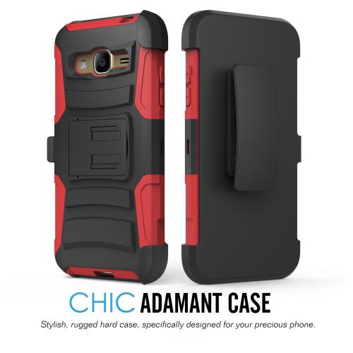 Samsung Galaxy J3 Case, [Red] Heavy Duty Dual Layer Hybrid Holster Case with Kickstand and Locking Belt Swivel Clip