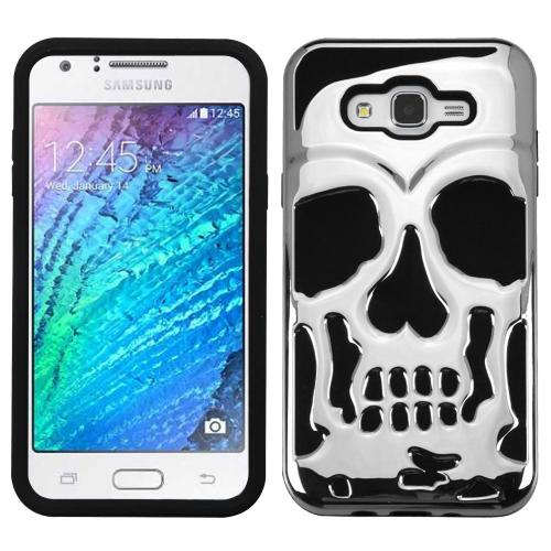 Samsung Galaxy J7 (2015) Case, Skull Hybrid Dual Layer Hard Case on Silicone Skin [Silver]