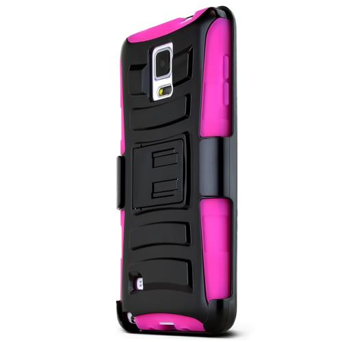 Samsung Galaxy Note 4 Case, [Black/ Hot Pink]  Heavy Duty Protective Dual Layer Rugged Bumper Hybrid Case
