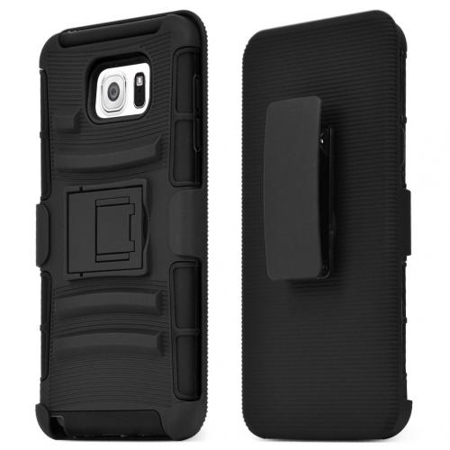Samsung Galaxy Note 5, [Black]  Heavy Duty Dual Layer Hybrid Holster Case with Kickstand and Locking Belt Swivel Clip