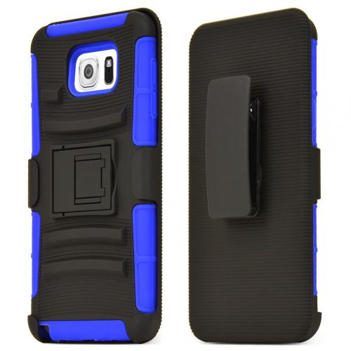 Samsung Galaxy Note 5, [Blue]  Heavy Duty Dual Layer Hybrid Holster Case with Kickstand and Locking Belt Swivel Clip