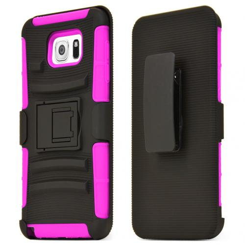 Samsung Galaxy Note 5, [Hot Pink]  Heavy Duty Dual Layer Hybrid Holster Case with Kickstand and Locking Belt Swivel Clip