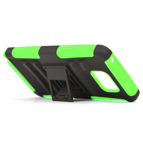 Samsung Galaxy Note 5, [Neon Green]  Heavy Duty Dual Layer Hybrid Holster Case with Kickstand and Locking Belt Swivel Clip