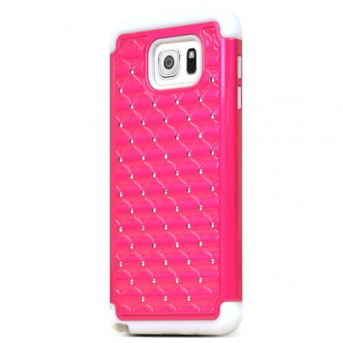 Samsung Galaxy Note 5, [Hot Pink/ White Bling]  Supreme Protection Bling Plastic on Silicone Dual Layer Hybrid Case