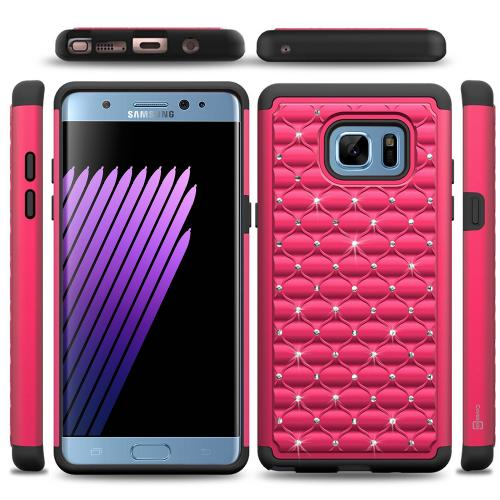 Samsung Galaxy Note 7 Bling Case, REDshield [Hot Pink/Black] Supreme Protection Bling Plastic on Silicone Dual Layer Hybrid Case