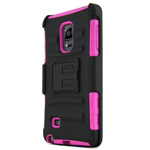 Galaxy Note Edge Case, [Hot Pink / Black] Supreme Protection Plastic on Silicone Dual Layer Hybrid Case for Samsung Galaxy Note Edge
