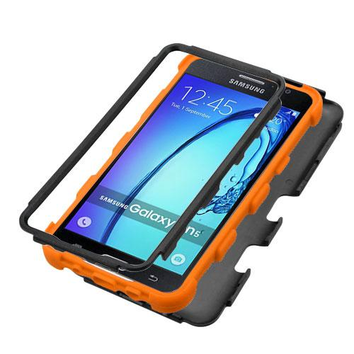 Samsung Galaxy On5 Case, TUFF Hybrid Dual Layer Hard Case on [Orange] Silicone Skin [Tree Branches on Black]