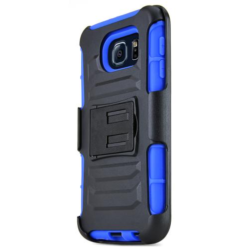 Samsung Galaxy S6 Case,  [Blue]  Heavy Duty Dual Layer Hybrid Holster Case with Kickstand and Locking Belt Swivel Clip