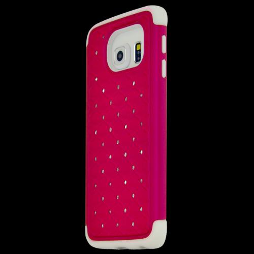 Samsung Galaxy S6 Edge Case,  [Hot Pink Bling]  Heavy Duty Hard Plastic on Silicone Dual Layer Hybrid Case