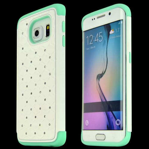 Samsung Galaxy S6 Edge Case,  [White Bline]  Heavy Duty Hard Plastic on Silicone Dual Layer Hybrid Case